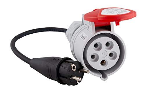 Adapter von 16A Schuko Stecker auf 16-32A CEE Kupplung 5-Polig, Länge 0,5m, IP44, CE (16A schuko -> 16A CEE)