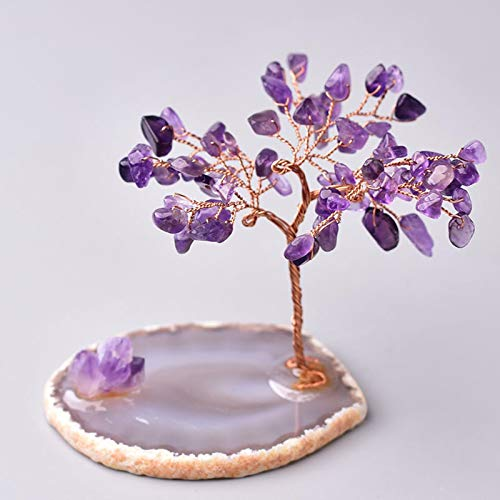 FISH4 Natural Crystal Lucky Tree Amethyst Rose Quartz Handmade Tree Decoration Agate Slices Stone Mineral Ornaments Office Decor Gift-Purple