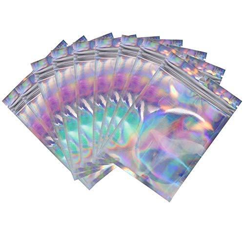 100 wiederverschließbare holografische Zip-Lock-Mylar-Tüten, 10,2 x 14,7 cm, verschließbare Folie, Probenbeutel, Geschenkbeutel für Süßigkeiten, Snacks, Schmuck, Wimpern, Lipgloss