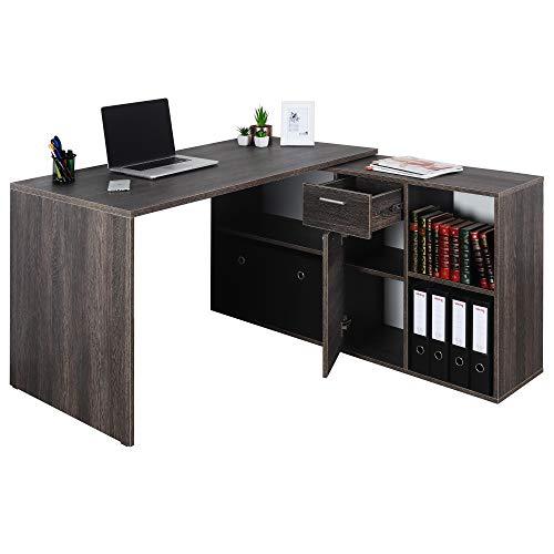 RICOO Eck-Schreibtisch Arbeitstisch Winkel-Kombination Bürotisch (WM081-VW) Computer-Tisch (Flexibel 90-180°) Holz mit Regal Akten-Schrank Low-Board