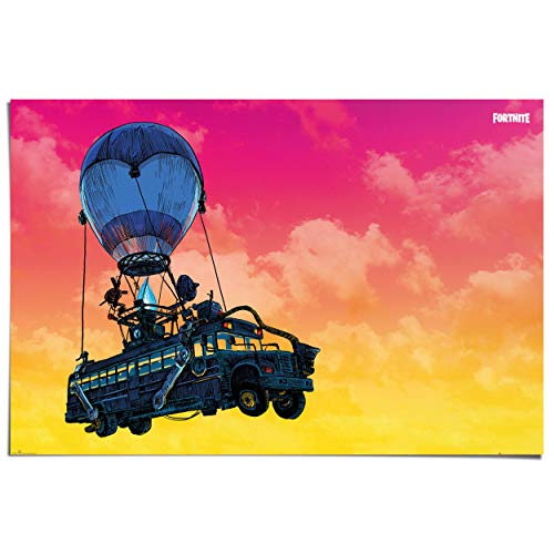 Poster Fortnite Battle bus - 91 x 61 cm Jongenskamer
