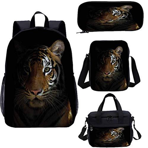 Tiger 15' Kids School Bookbags Set,King of Sundarbans Bookbags 4 in 1