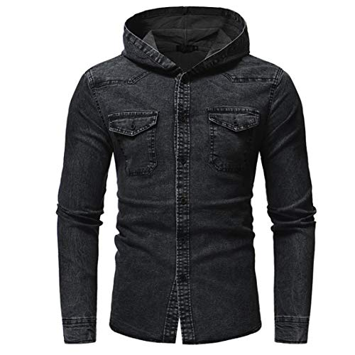 Hemd Herren Kapuzenhemd Herren Denim Casual Langarm Slim Denim Herren Hemd Neues All-Match Casual Fashion Design Soft Boutique Longsleeve Herren Hemd Herren Tops A-Black L