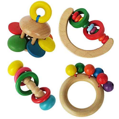 TOYANDONA 4Pcs Baby Rassel Musikspielzeug Kleinkind Holzspielzeug Holz Montessori Baby Rassel Greifspielzeug