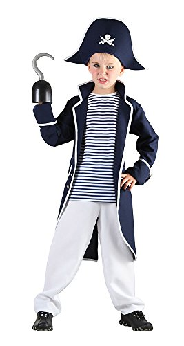 Bristol Novelty- Costume de Capitaine Pirate, Taille M, CC894, Blanc, Moyen