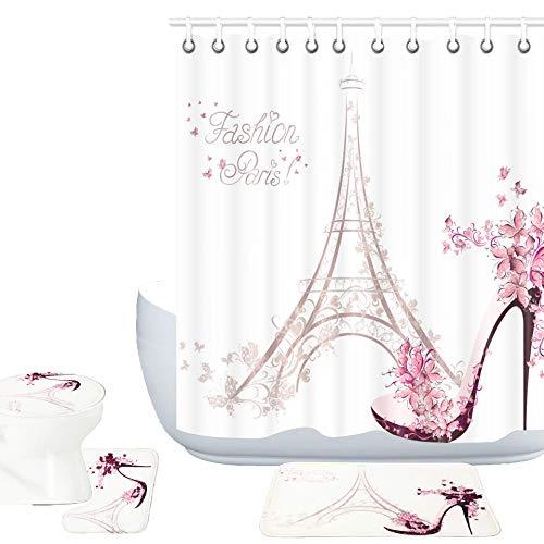 Amagical Paris Eiffelturm Decor 16-teiliges Badvorleger-Set Duschvorhang-Set High Heels Schuhe & Rosa Blume in Paris Muster Badematte + Konturmatte + WC-Abdeckung + Duschvorhang + 12 Haken