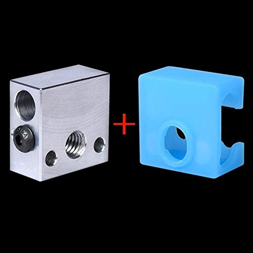 CR10 Heat Block Aluminum Heater Block MK8 Silicone Sock for CR10 Hotend Ender3 MK9 3D Printer Extruder J-Head Swiss 3D Printing Accessories (Color : Block and Sock, Size : 2PCS)