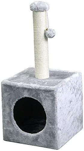 Poste rascador para Gatos Rascador para Gato Postes rascador para Gatos de 31 x 31 x 67 cm Pelota Colgantes (Gris)