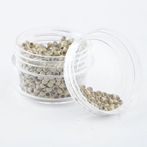 Vlasy 500Pcs Nano Ring Beads Silicone Lined for Nano Ring Human Hair Extensions 5Color Optional (Blonde)