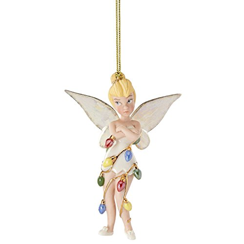 Lenox Disney 2016 Tinkerbell Figurine Ornament Annual All Wrapped Up Tree Lights Fairy Pixie