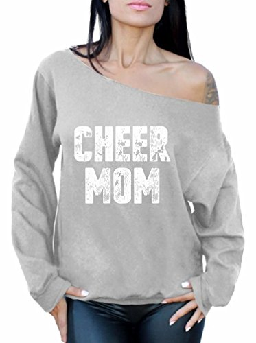 Awkward Styles Cheer Mom Off Shoulder Sweatshirt Cute for Her Grey M