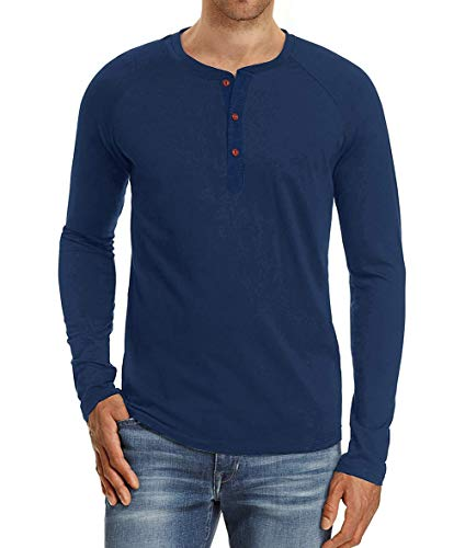 Camiseta de Manga Larga para Hombre Regular Camisa Ocio Color Sólido La Moda Blusa Superior Retro Henley...