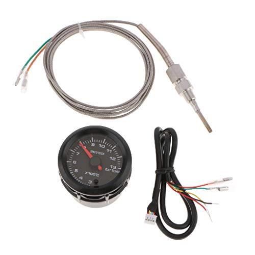 KESOTO 2Zoll 52mm LED Auto Universal Abgastemperaturanzeige Inkl. Sensor Für Alle 12-Volt-Fahrzeug