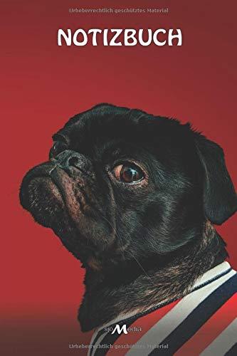 Notizbuch: A5 liniert schönes Mops Hunde Motiv 150 Seiten   Tagebuch, Notizheft, Journal, Reisetagebuch oder Skizzenbuch