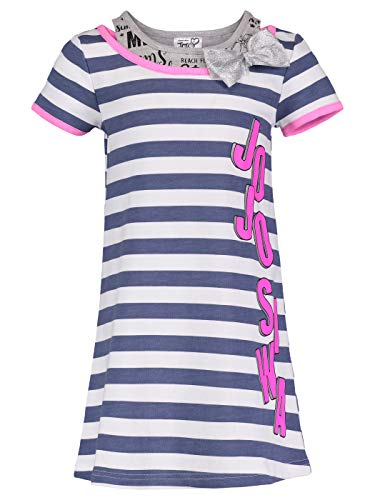 JoJo Siwa (994829WAS Girls Logo Bow Stripe Dress in Blue Stripe, 5