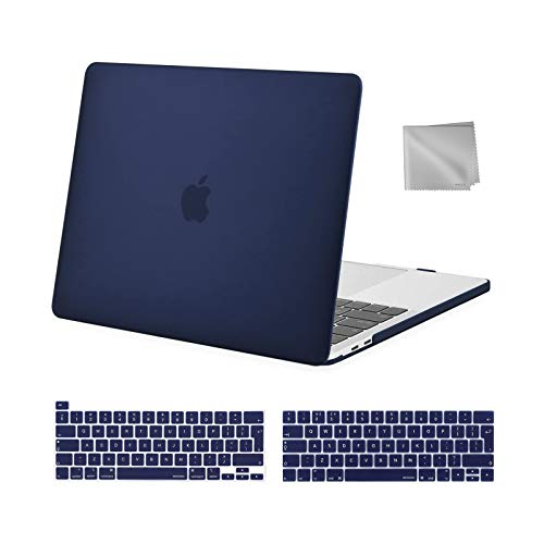 MOSISO MacBook Pro 13 inch Case 2016-2020 Release A2338 M1 A2289 A2251 A2159 A1989 A1706 A1708, Plastic Hard Shell Case&Keyboard Cover&Wipe Cloth Compatible with MacBook Pro 13 inch, Navy Blue