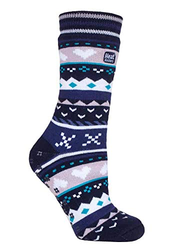 HEAT HOLDERS - Damen Thermo Winter Warm Antirutsch Noppen Kuschelsocken mit Abs Sohle in Geschenkbox (37/42, Navy/Purple (Soul))