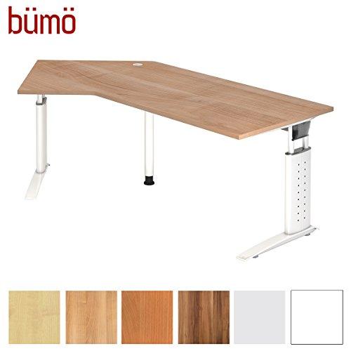 bümö® Schreibtisch höhenverstellbar 68-86 cm | Bürotisch mit Gestell in weiß | Büroschreibtisch | Tisch für's Büro & PC in Top Qualität - Winkelschreibtisch: 210 x 113 cm, Nussbaum
