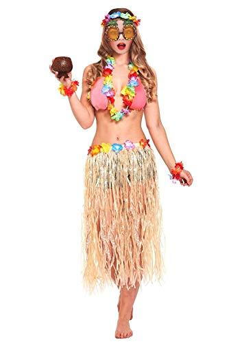 JZK 6 x Hawaii Party Kostüm Set, Hula Rock + Blume Stirnband + 2 Blumen Armband + Halskette Girlande + Ananas Sonnenbrille, Mädchen Frauen Zubehör für Hula Luau Party