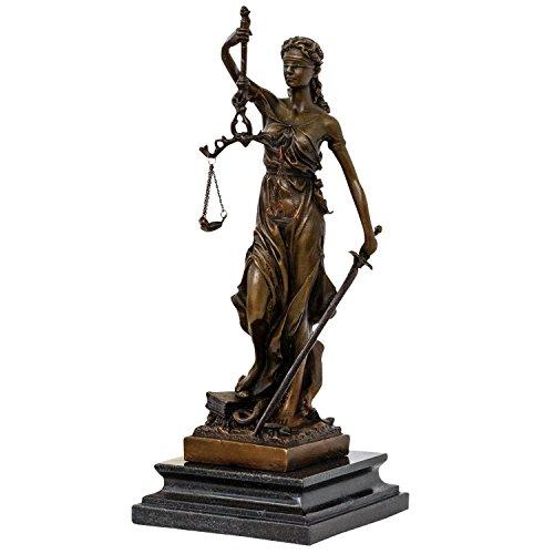 aubaho Bronzeskulptur Justitia Justizia Statue Bronze Figur Skulptur Antik-Stil - 35cm