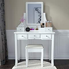 Elegant And Functional Design: Simple and elegant design with 360°pivoting mirror, crystal knob and wooden legs.You can put this vanity desk in bedroom, bathroom, closet or hallway. As a birthday present or christmas gift, your daughter and girlfrien...