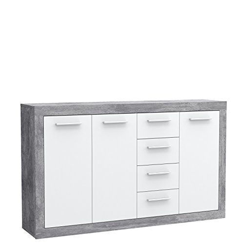 FORTE  Kommode, Holz, Beton Optik / Weiß, 152.60 x 34 x 91.50 cm