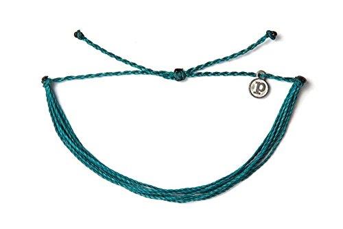 Pura Vida Original Solid Mediterranean Green Bracelet - Iron-Coated Charm, Adjustable Band - 100% Waterproof