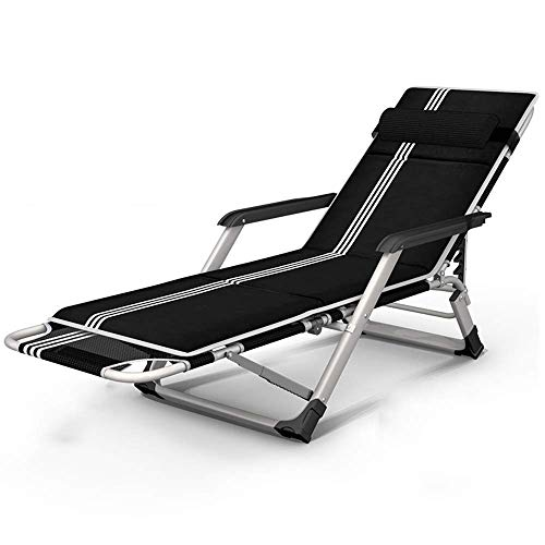 Recliner Chair Heavy Duty Folding With Carry Bag For Camping Cot Bed Adults Kids Portable Bed Supports 200kg Chaise lounges With cushion (Color : With Cushion)