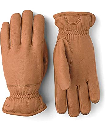 20280 Hestra Mens Leather Gloves: Deerskin Winter Gloves with Fleece Lining by Hestra