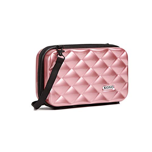 Kono Multifaceted Diamond Travel Clutch Hard Shell Waterproof Mini Cosmetics Handbag Box (Nude)