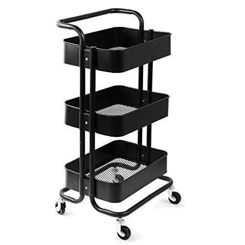 D4P Display4top Carrito con Bloquear Ruedas, Carrito Auxiliar con 3 Nivel para la Cocina, baño, Dormitorio de Almacenamiento (Negro)