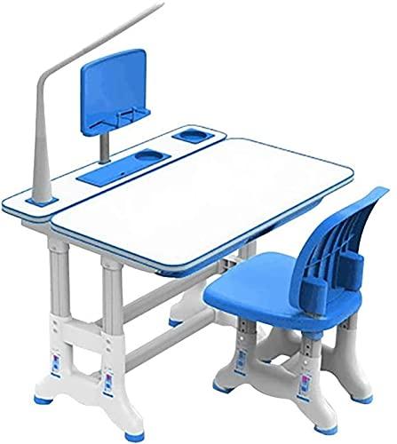 Juego de escritorio y silla para niños Juego de silla de mesa de estudio combinada para niños Escritorio ajustable portátil Juego de silla de mesa de trabajo de plástico que se puede subir y bajar