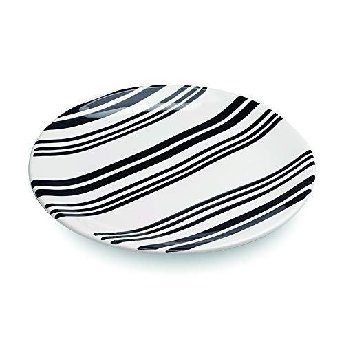 Zafferano Dalmata - Porzellanteller, Durchmesser 270 mm, Farbe schwarz-weiß, Streifenmuster, spülmaschinengeeignet - Set 6-teilig