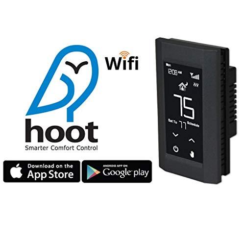 KING K902-B Hoot WiFi Line Voltage Smart Programmable Thermostat, 120/208/240V, Double Pole, Black