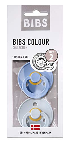 BIBS Schnuller Colour 2er Pack, Naturkautschuk, dänische Schnuller mit Kirschform (Sky Blue/Baby Blue, Größe 2 (6-18 Monate))