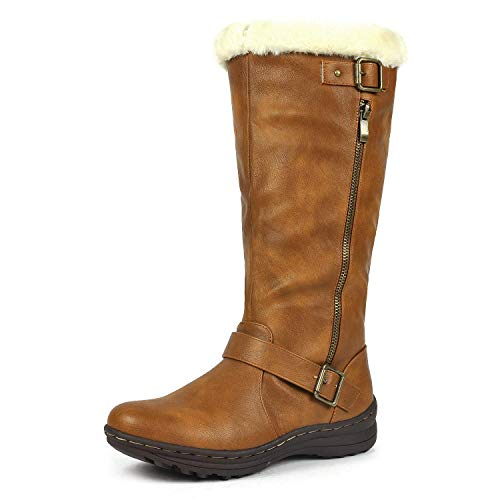 DREAM PAIRS Women's Rabbit Lady Fully Fur Lined Double Buckle Ruched Snow Knee High Winter Boots Camel PU Size 11 Wide Calf