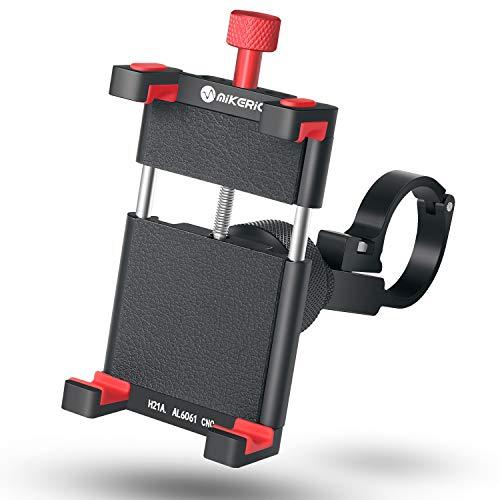 Mikeric Soporte de metal para motocicleta, soporte para teléfono para motocicleta y bicicleta con rotación de 360°, soporte sólido para iPhone y dispositivos Samsung