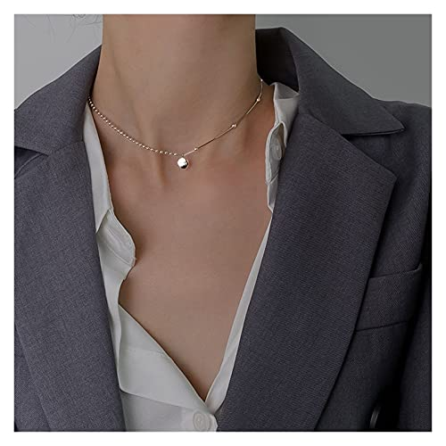 YHshop Collares y Pendientes 925 Collares de gargantillas de Plata esterlina Mujeres Fina joyería Accesorios de Boda Geométrico Colgante Collar Collar Collares Pendientes (Gem Color : D)