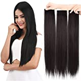 """REECHO 28"""" Thick Super Long Short Straight 3PCS Set Clip in on Hair Extensions for Women Girls Black Brown"""