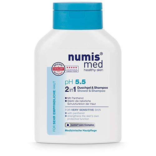 numis med 2in1 Duschgel & Shampoo ph 5.5 - Hautberuhigendes Shower Gel & Haarshampoo für sehr empfindliche & sensible Haut - vegane Hautpflege ohne Silikone, Parabene & Mineralöl (1x 200 ml)