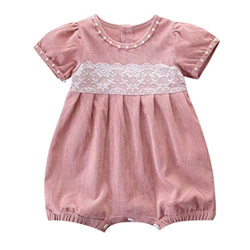 Qingxia_ZI kleding voor kinderen, meisjes, babykleding, kant, parel, patchwork, roomper fluweel, korte mouwen, eenkleurig, voor de zomer, 3 tot 24 maanden.