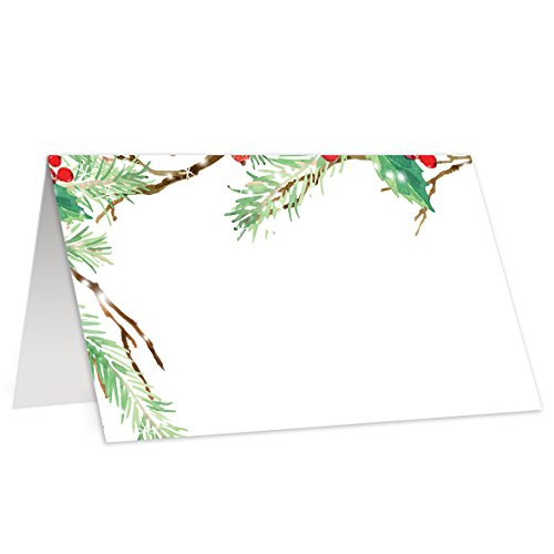 Place Cards for Holiday Party (Pack of 50) Christmas Dinner Escort Cards Vintage Winter Pine Tree Branch Holly Berries Tent Style Folded Cards Blank for Guest Name 3.5 x 2 Inches Digibuddha