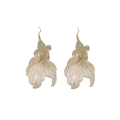 VEED Golden Tone Koi Goldfish Animal Drop Dangle Pendientes llamativos Fashion Jewerly