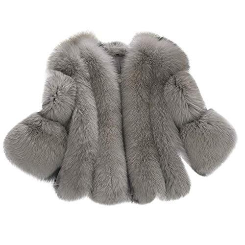 BAINASIQI - Chaleco de piel sintética para mujer, elegante, cálido, de invierno, abrigo, sin mangas Gris-1. M