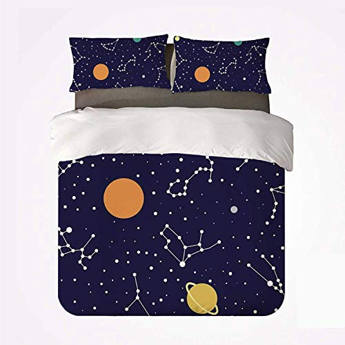 Yoyon Duvet Cover Set Constellation Soft 3 Piece Bedding Set,Zodiac and Planets Colorful Pattern Galaxy Universe Science Illustration for Bedroom