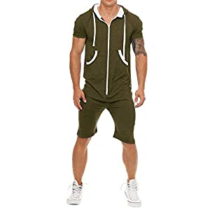 COOFANDY Mens Rompers Hooded Tracksuit Zipper One Piece Jumpsuit Casual Contrast Color Short Sleeve Comfy Playsuit…