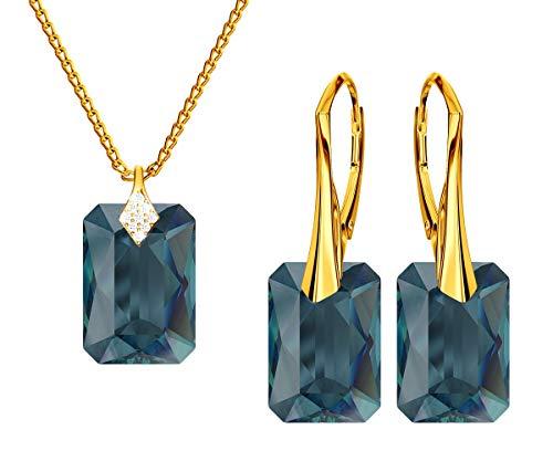*Beforya Paris* Nuevo corte esmeralda *Montana* – Plata 925 / Chapado en oro 24 K – Juego de joyas para mujer – joyas con cristales de Swarovski Elements – Pendientes y collar con caja de regalo