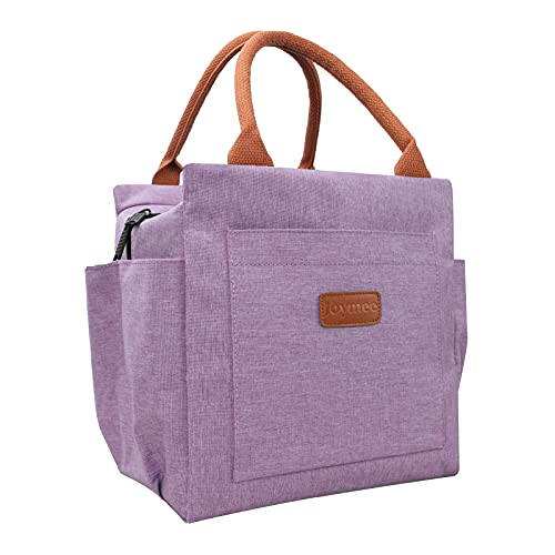Insulated Lunch Box for Women Reusable Lunch Bag Durable Large Lunch Totes for Women Men Adult with Bottle Holder And Side Pockets for Work Picnic Travel - Purple