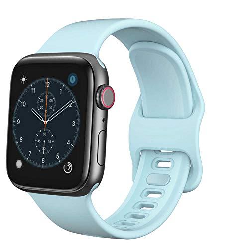 TopPerfekt - Correa compatible con Apple iWatch SE/6/5/4/3/2/1, en silicona suave, repuesto para 38mm, 42mm, 40mm y 44mm, azul claro, 42/44mm