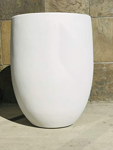 Kante RC0066A-C80011 Lightweight Concrete Outdoor Round Bowl Planter, 21.7 Inch Tall, Pure White